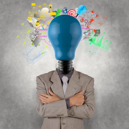 businessman with lamp-head as business success