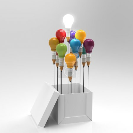 Photo for Drawing idea pencil and light bulb concept outside the box as creative and leadership concept - Royalty Free Image