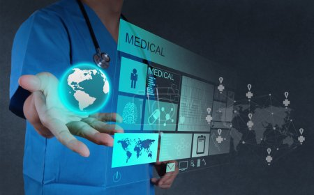 Photo for Medicine doctor hand working with modern computer interface as concept - Royalty Free Image