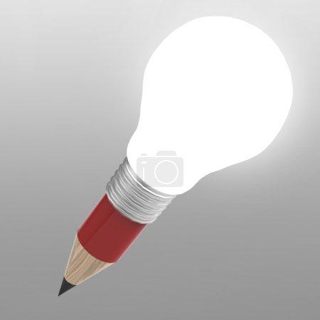 Photo pour Blanc 3d ampoule crayon créatif comme concept créatif et ajouter votre mot - image libre de droit