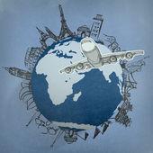 """Постер, картина, фотообои """"Самолет, путешествия по всему миру"""""""