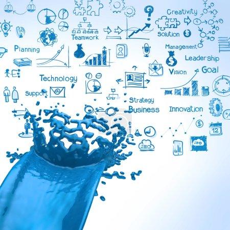 3D paint blue color splashand business strategy background
