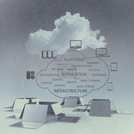 Photo pour Cloud computing structure 3D comme concept vintage - image libre de droit