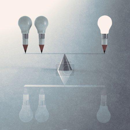 false balance of pencil lightbulb
