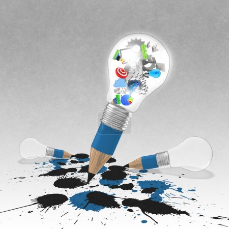 Photo for Drawing idea pencil and light bulb concept creative and splash colors as concept - Royalty Free Image