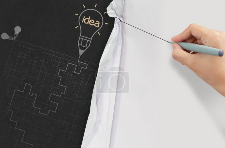 Photo for Business hand draws rope open wrinkled paper show the labyrinth as success concept - Royalty Free Image