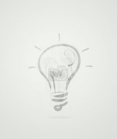 Photo for Light bulb idea on crumpled paper as creative concept - Royalty Free Image