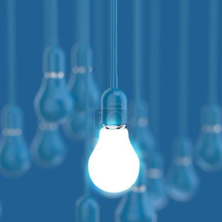 Foto de Creativa idea y liderazgo 3d bombilla como concepto de liderazgo - Imagen libre de derechos