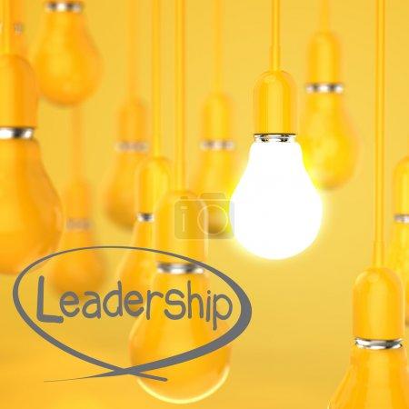 creative idea and leadership concept light bulb 3d design