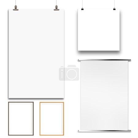 set of blank modern 3d frame on texture background
