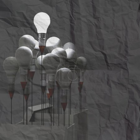 drawing idea pencil and light bulb concept outside the box on cr