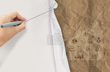 business hand draws rope open wrinkled paper show business strat