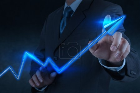 businessman hand touch 3d virtual chart business