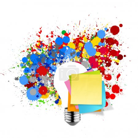 Photo for Blank sticky note with splash colors lightbulb on white background as concept - Royalty Free Image