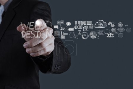 Photo for Businessman hand working with web design diagram as concept - Royalty Free Image