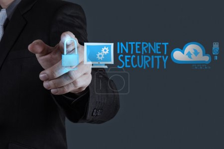 businessman hand touching Internet security online business as c