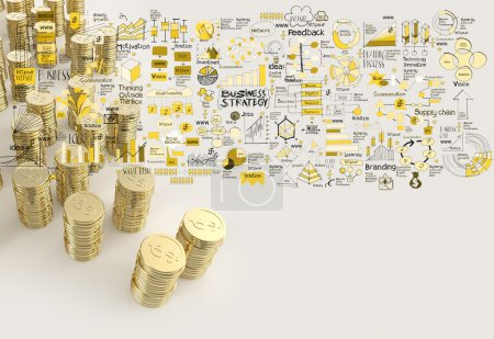 Stack of coins dollar sign 3d and hand drawn business strategy a