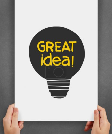 Photo for Light bulb crumpled paper in great idea words as creative concept - Royalty Free Image