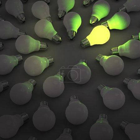 creative idea and leadership concept with 3d green light bulb