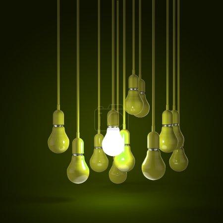Photo pour Idée créative et concept de leadership avec ampoule verte 3d - image libre de droit
