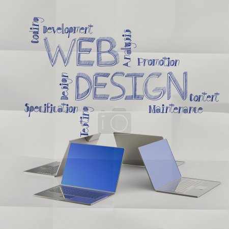 laptop computer with hand drawn web design icons as concept