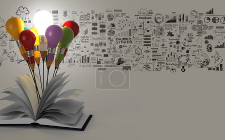 Drawing idea pencil light bulb and open book busin...