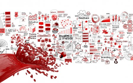 3D paint red color splash and hand drawn business strategy backg
