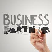 """Постер, картина, фотообои """"рука рисования графических слово делового партнера как концепция"""""""