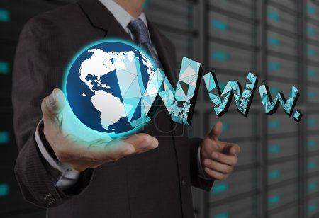 businessman hand show world and WWW. as internet concept
