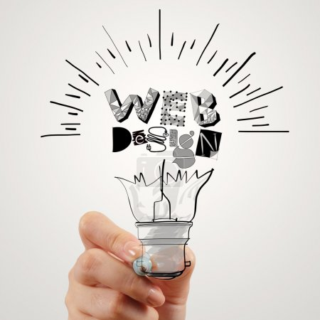 Photo for Hand drawing light bulb and WEB DESIGN word design as concept - Royalty Free Image