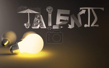 Photo pour 3D ampoule croissance design talent de mot comme concept - image libre de droit