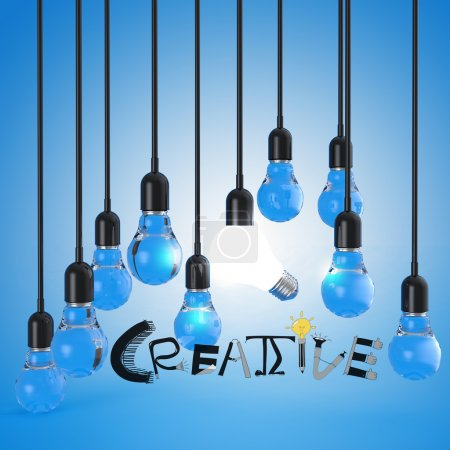 lightbulb 3d and design word CREATIVE as concept
