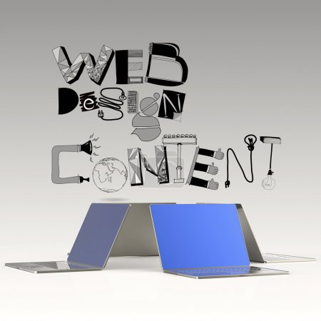 design word WEB DESIGN CONTENT and laptop 3d computer as concept
