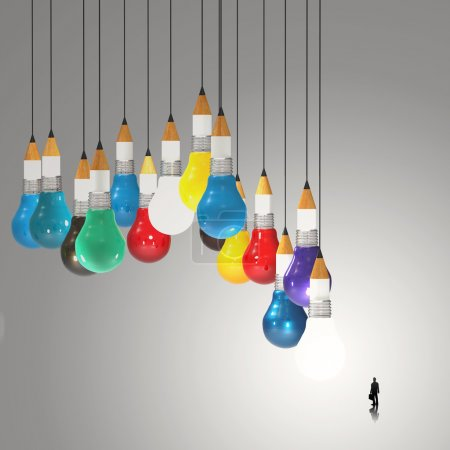 businessman looking at 3d pencil and light bulb concept creative