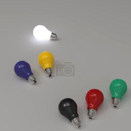Photo pour Ampoule 3D croissante se démarquant des ampoules incandescentes non éclairées comme concept de leadership - image libre de droit