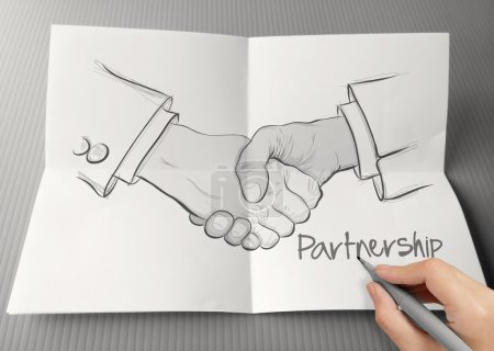 hand drawn handshake sign as partnership business concept