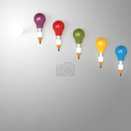Photo for Drawing idea pencil and light bulb concept creative and leadership concept with copy space - Royalty Free Image