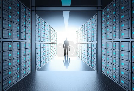 engineer business man in 3d network server room as concept