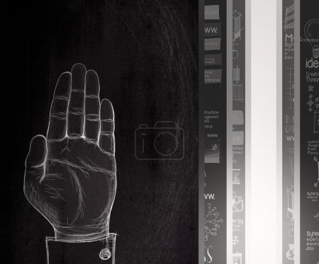 Photo for Hand raised draw sign on dark wall as concept - Royalty Free Image