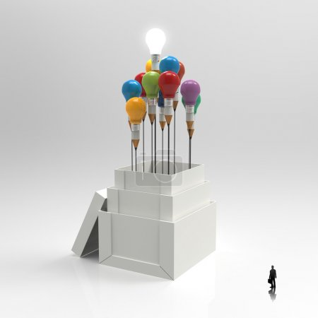 pencil light bulb 3d as think outside of the box as concept