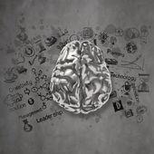Постер металлические мозг 3D с бизнесом