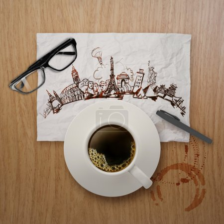 3d cup of coffee traveling around the world on crumpled paper an