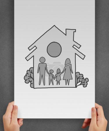 hand draw family and house as insurance concept