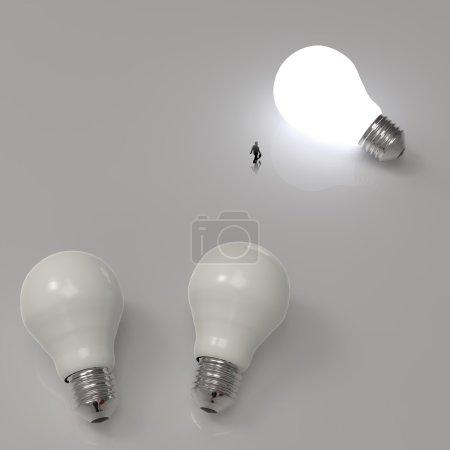 homme d'affaires marchant vers l'ampoule croissante diagramme d'idée 3d comme succion