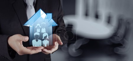 Photo for Businessman hand working with new modern computer show social network structure as concept - Royalty Free Image