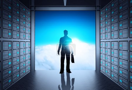 engineer business man in 3d network server room and cloud outsid