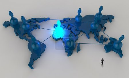 Photo for Businessman walking to social network human 3d on world map as concept - Royalty Free Image