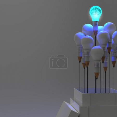 Photo for 3d metal human brain in a light bulb as creative concept - Royalty Free Image