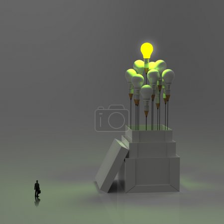 Photo for Businessman looking at pencil light bulb 3d as think outside of the box as concept - Royalty Free Image