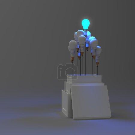 Photo pour Ampoule crayon 3d comme penser en dehors de la boîte comme concept - image libre de droit